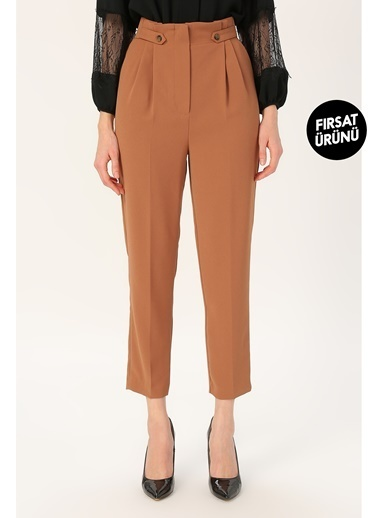 Random Kadın Yüksek Bel Pileli Pantolon Kahve